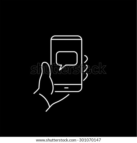 Vector linear phone and technology icons with smart phone in hand gesture with message on touchscreen | flat design thin line modern white illustration and infographic on black background - stock vector