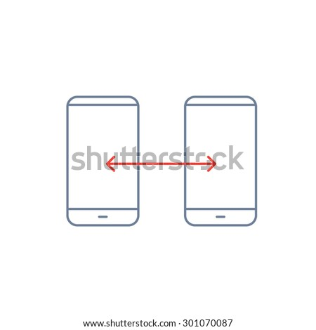 Vector linear phone and technology icons with syncing gesture transfering between two smartphones | flat design thin line modern grey and red illustration and infographic on white background - stock vector