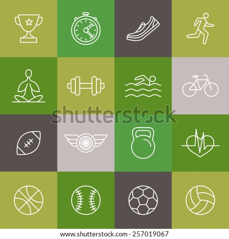 Vector linear sport and fitness icons and signs - healthy lifestyle concept in trendy outline style - stock vector
