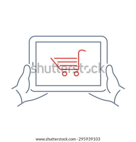 Vector linear tablet icon with online e-shop cart on screen | flat design thin line blue and red modern illustration and infographic isolated on white background - stock vector