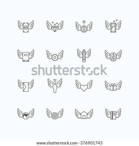 vector linear web icons set - wing concept collection of flat line design elements. - stock vector