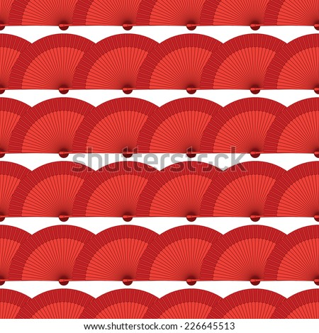 vector lined red flamenco fan seamless wallpaper background pattern design - stock vector