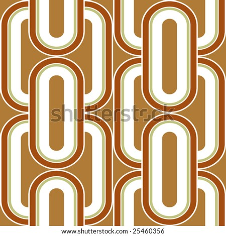 Vector Linked Seamless Seventies Style Inspired Wallpaper - stock vector