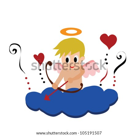 Vector - Little cupid. Little cupid on a cloud isolate on white. - stock vector