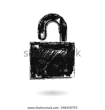 Vector Lock Icon sketch doodle - stock vector
