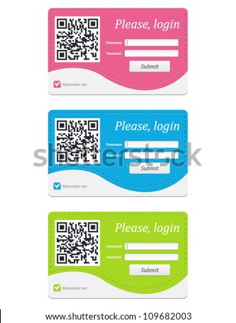 Vector login badge with QR code in three colors - stock vector