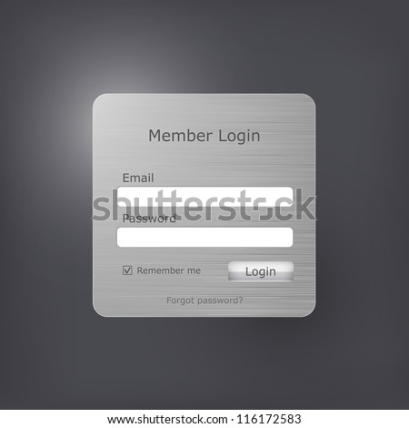 Vector login form with brushed metal texture - stock vector