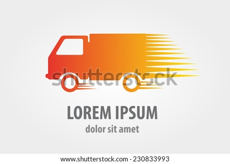 Vector logo design element with business card template on white background. Truck, freight, cargo - stock vector