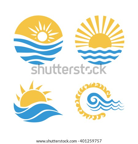 Vector logo design element with business card template on white background. Wave, sun and sea icon set. Vector illustration set - stock vector