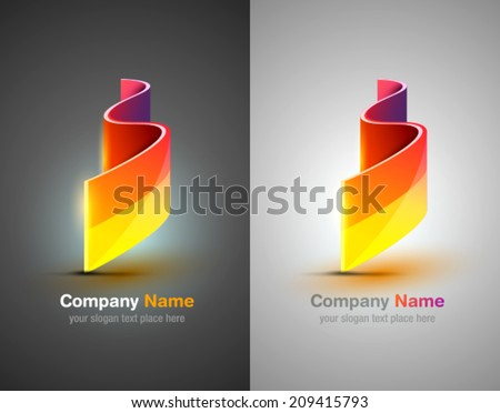 Vector logo design elements. Colorful design template. Color icon shapes set. Abstract river - stock vector