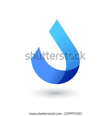 Vector logo design template. Abstract blue water drop, wave shape. Business,  technology, nature, ecology symbol.  - stock vector