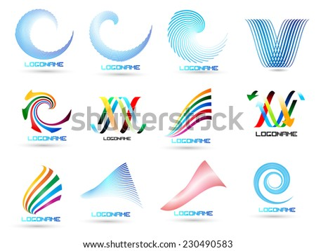 Vector Logo Design Template . Abstract Colorful Stripe Icon . Curved Lines on White Background . Spiral Logo .  - stock vector