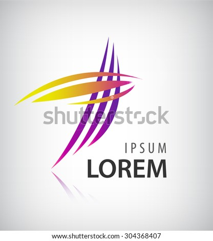 Vector Logo Design Template . Abstract Colorful Stripe Icon . Curved Lines on White Background - stock vector