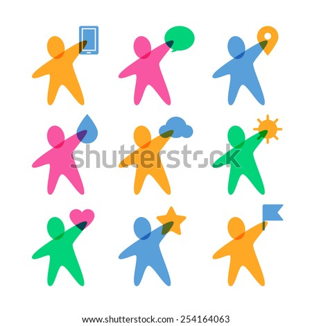 Vector logo design template. Set of colorful abstract happy people with items. Concept for social network, team work, partnership, friends, business cooperation, playing kids. - stock vector