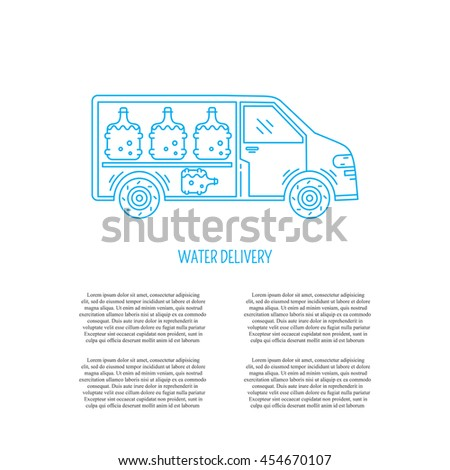 Vector logo design with water delivery car and place for text. Perfect for business card, water delivery service. Car with bottle isolated on white background. - stock vector