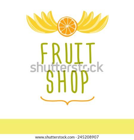 Vector logo for a market of fruits, fruit juice labels.Fresh fruit. - stock vector