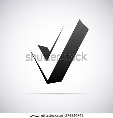 Vector logo for letter V in confirm sign shape - stock vector