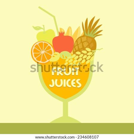 Vector logo fruit juice. Multifruit. Smoothies. Fresh juice. - stock vector