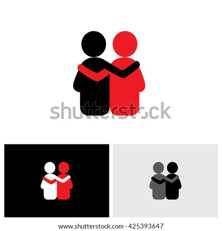 vector logo icon of friendship, dependence, empathy, bonding. this also represents concepts like responsibility, concern, care, together, sympathy, trust, faith, hope & expectation, assurance - stock vector