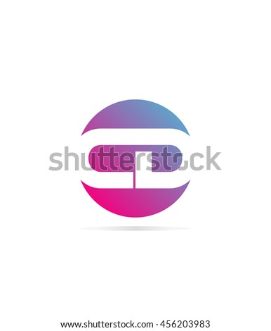 Vector Logo initial letter CD round spherical shape. color gradation - stock vector