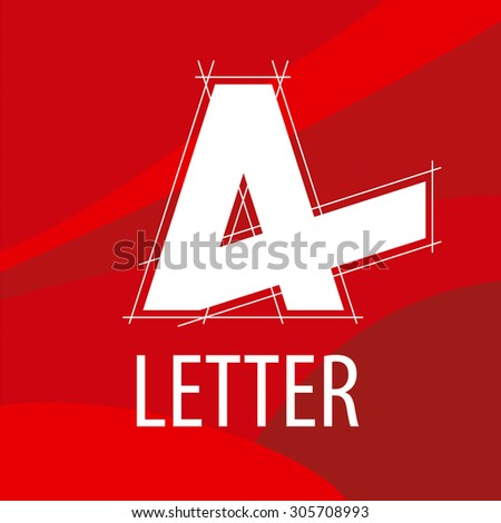 vector logo letter A in the drawing to form a red background - stock vector