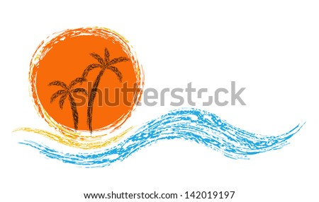 Vector logo. ocean waves, palm trees and sun - stock vector
