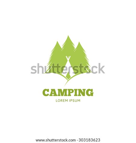 Vector logo of camping. Template icon of trees and igloo. - stock vector