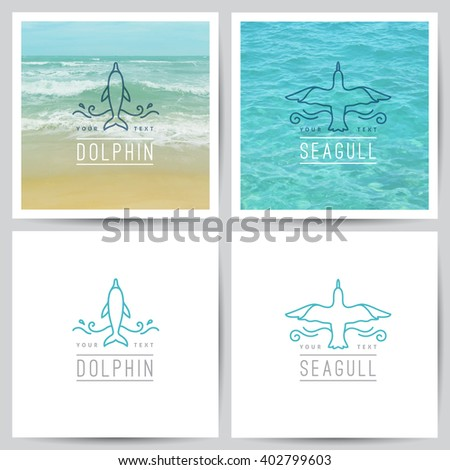 vector logo of dolphin and seagull on white and on realistic sea background - stock vector
