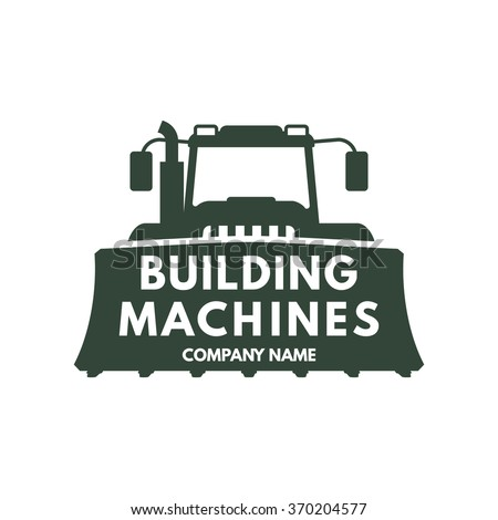vector logo of the building machines company,tractor icon with a scoop, building equipment company emblem - stock vector