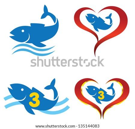 vector  logo omega fish on heart - stock vector
