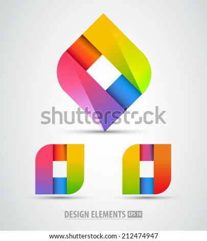 Vector logo origami. Abstract logo design elements. Color abstract shapes. - stock vector