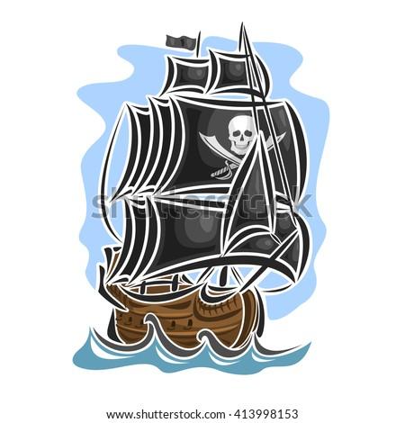 Vector logo pirate cartoon sailing ship, sailboat, sailer, vessel, sailing, barque, craft, frigate, caravel, galleon, black sails Jolly Roger flag floating blue sea waves, pirate sailing old vessel - stock vector