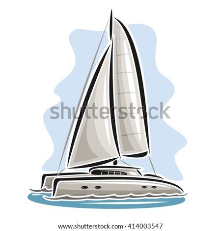 Vector logo sailing catamaran, sailboat, sailer, sloop, ship, sail boat, floating blue sea, ocean, waves. Cartoon sailing catamaran, sea summer regatta, yachting extreme sport race, sea sailing travel - stock vector