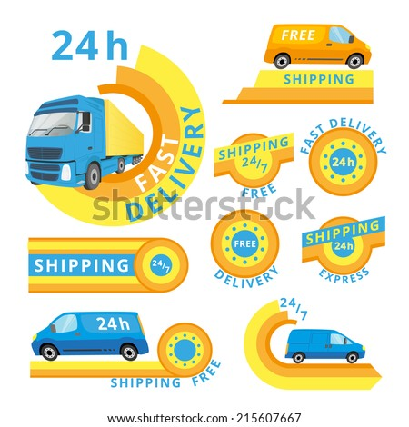 Vector logo set of delivery cars and labels. - stock vector