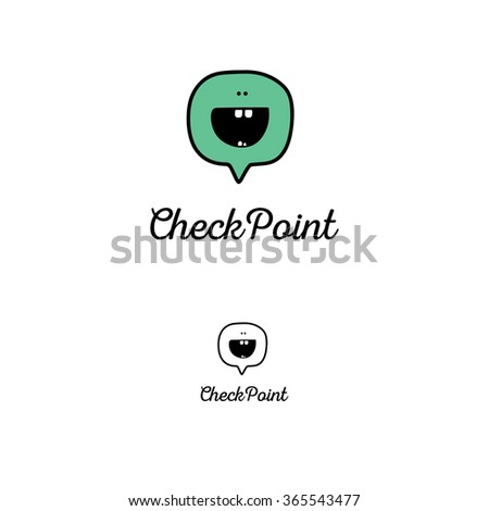 Vector logo. Smile face sign pin icon. Happy smiley chat symbol. Speech bubble.  - stock vector