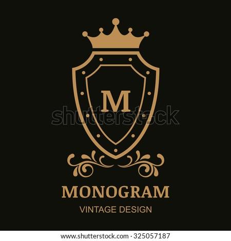 Vector logo template, crown, shield and flourish vintage ornament. Decorative golden frame background. Design for boutique, hotel, restaurant, jewelry, fashion, heraldic, emblem. - stock vector