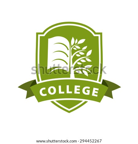 vector logo tree and the book for college  - stock vector