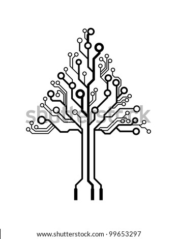Vector logo triangle circuit board tree - stock vector