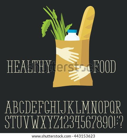 Vector logo with hand made font. Healthy food - stock vector