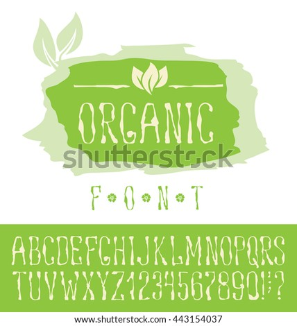 Vector logo with hand made font. With inscription Organic - stock vector