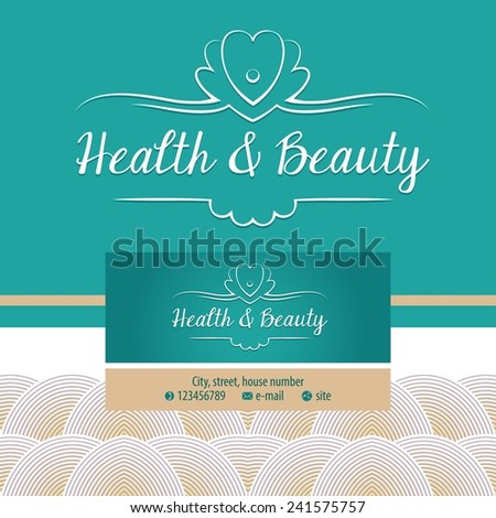 Vector logo with shell and pearl. Gold and turquoise. Trendy and stylish. Vintage. The premium segment. Identification elements: logo, background, colors, decorative ribbon.  business card  - stock vector