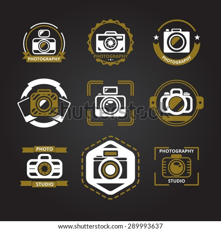 Vector logos or icons for photographers set. Camera and photo, photography technology, foto studio emblem, vector illustration - stock vector