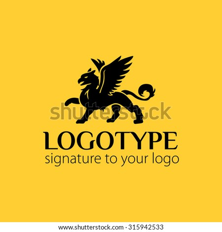 Vector logotype or illustration griffin on yellow background - stock vector