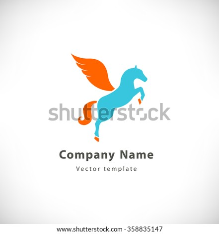 Vector logotype with fantasy horse with wings. Pegasus sign, logo - stock vector