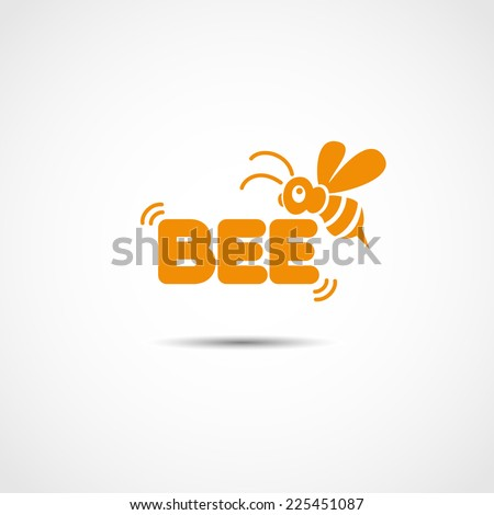 vector logotype with flying bee - stock vector