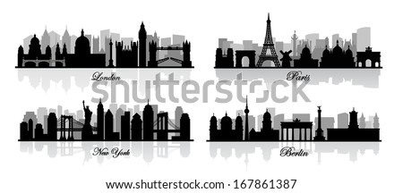 vector london, new york, berlin and paris - stock vector