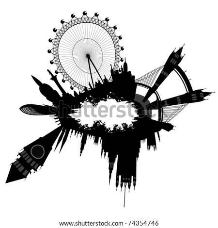 vector London skyline in grunge style - stock vector