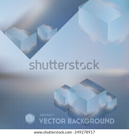 Vector looks like double exposure. Abstract future background with cubes on blurred background. - stock vector