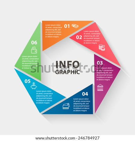 Vector loop geometric colorful shape financial, bank, company, money infographics. Template for diagram, graph, presentation and chart. Business concept with 6 options, parts, steps or processes.  - stock vector