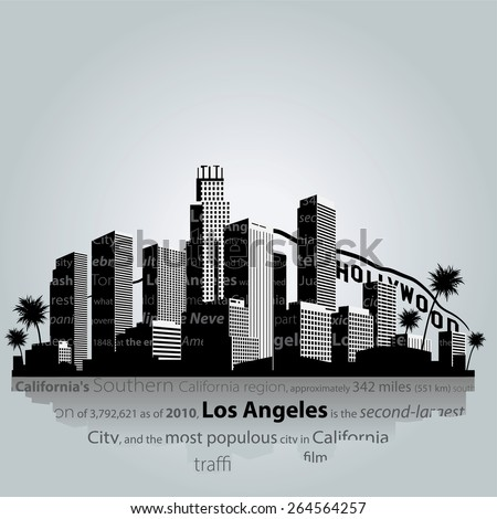 Vector. Los Angeles city silhouette. - stock vector